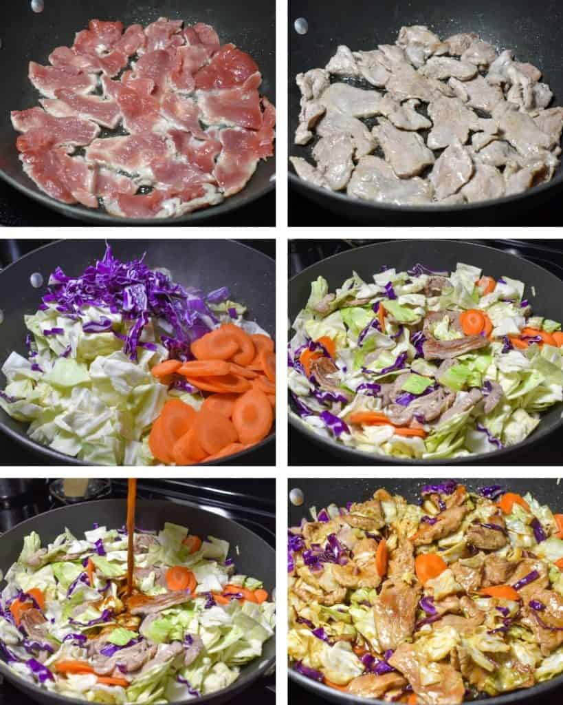 A collage of six images illustrating the steps to making the pork stir fry.
