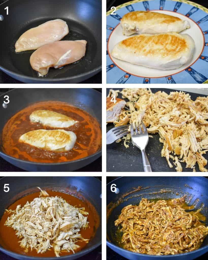 A collage of six images illustrating the steps to making the shredded chicken topping for the nachos.