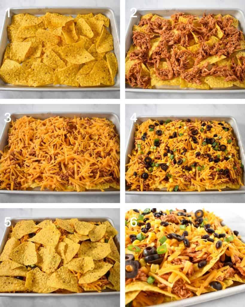 A collage of six images illustrating the steps to building the chicken nachos.