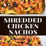 Two images of the finished nachos separated by a graphic with the title in white letters.