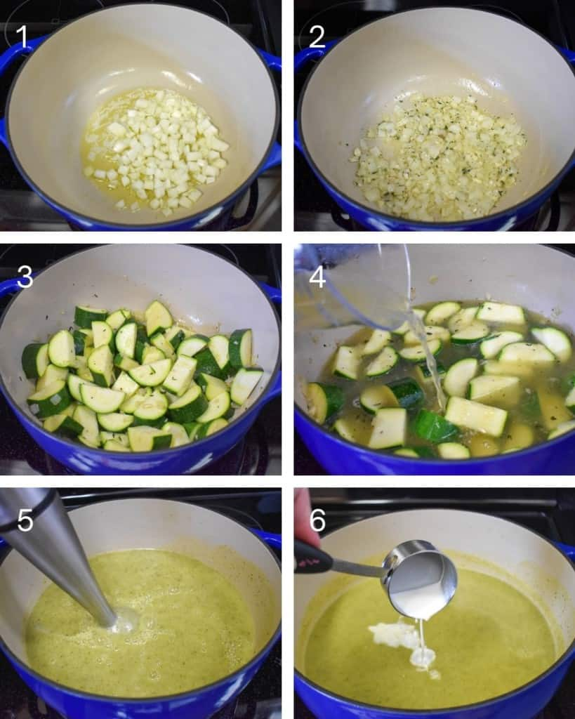 A collage of six pictures illustrating the steps of making the zucchini soup.