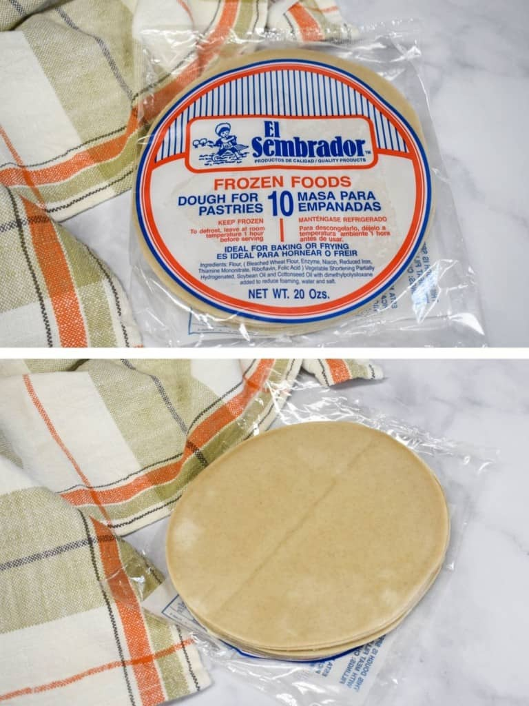Two images one of empanada discs in the package and the other is the discs out of the package. There is a light colored peach and beige kitchen towel next to the discs.