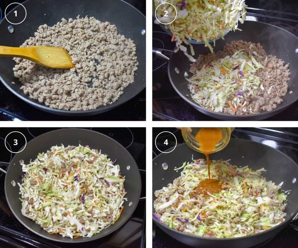 A collage of four images showing the steps of making the dish.