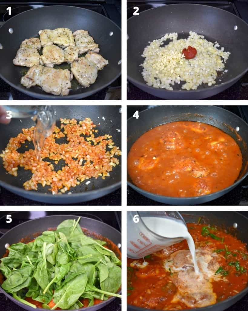 A collage of six images illustrating the steps to making the chicken and sauce.