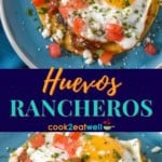 Two images of the huevos rancheros served on an aqua plate, separated by a dark blue graphic with the title in yellow and aqua letters.