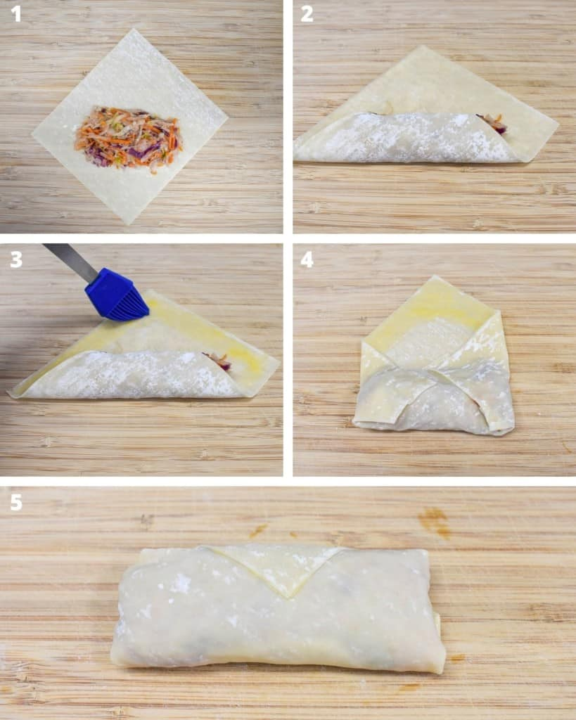 A collage with five images illustrating the process of building the egg rolls. All are set on a light colored wood cutting board.