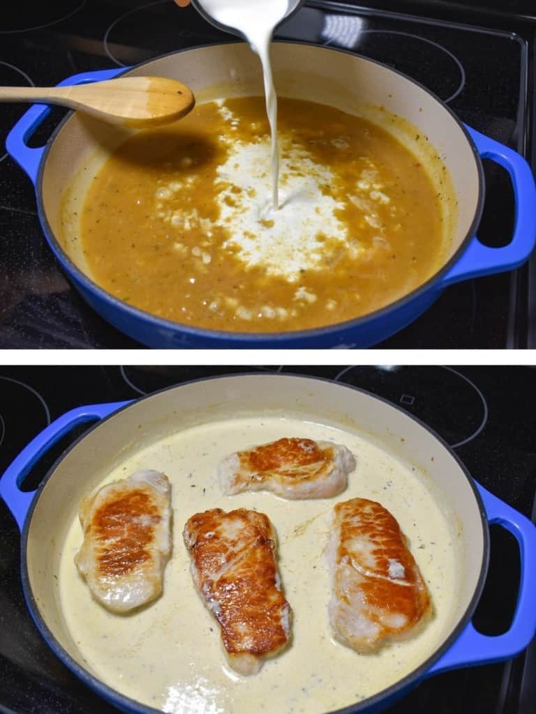 Two images, the top one is adding the half and half to the sauced. The bottom image is the cream sauce with the pork chops added back in.