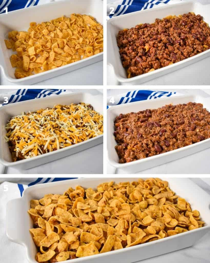 Five images showing the steps to building the frito pie casserole.