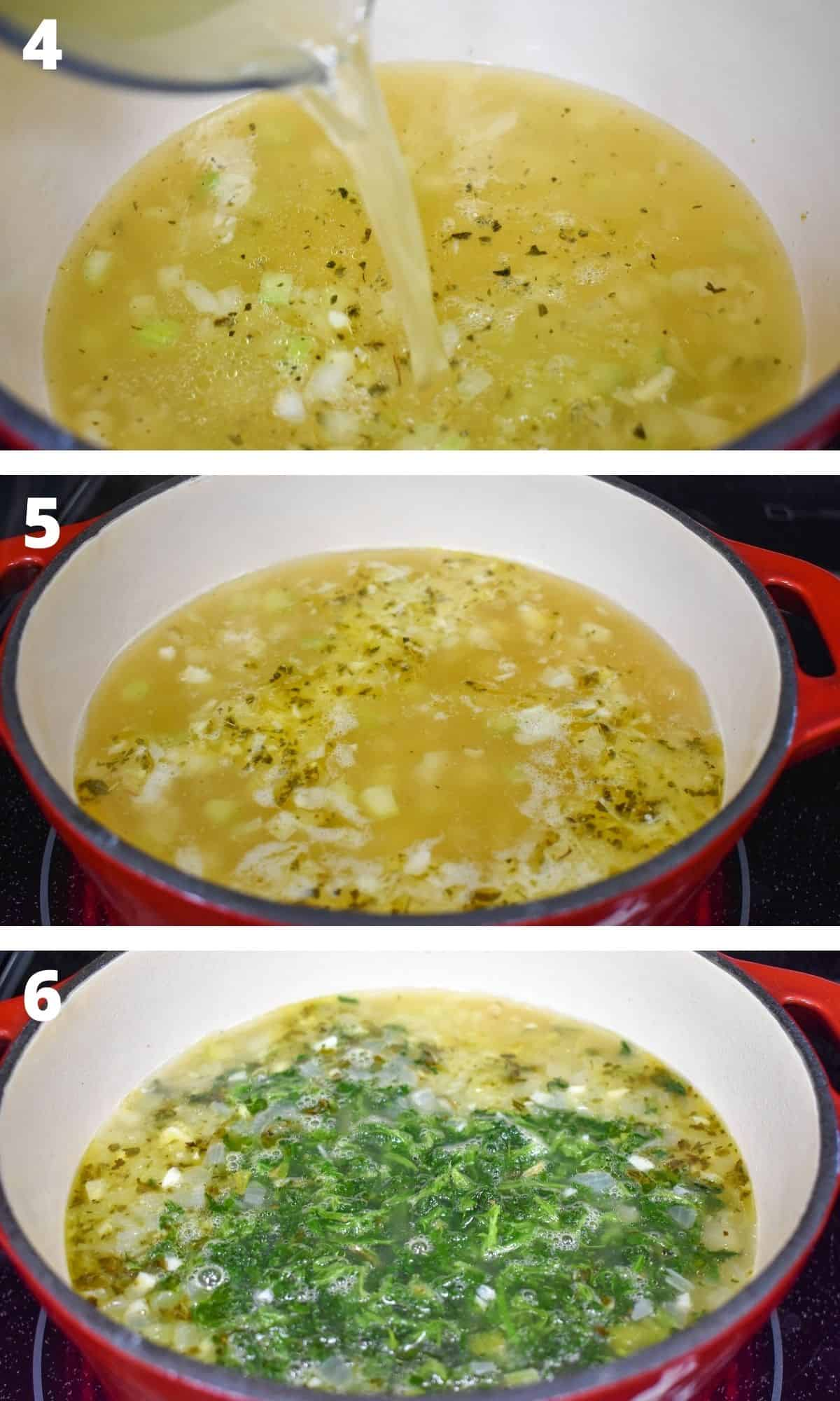 Three images showing the ending steps of making the soup, from adding the broth to adding the spinach.