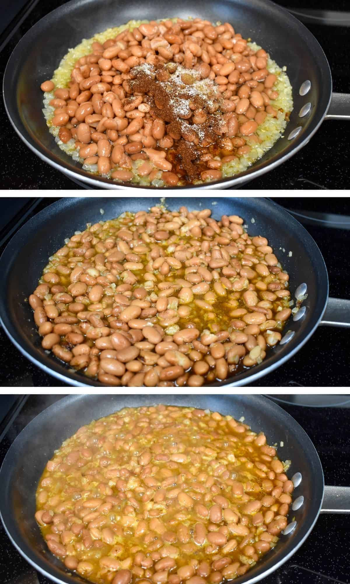 Three images of the steps making refried beans, before mashing.