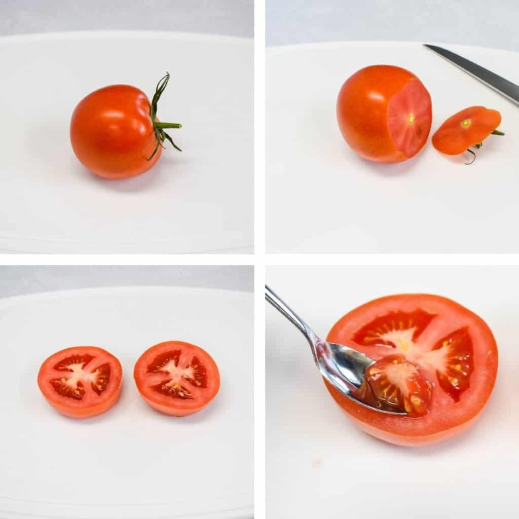 Four pictures showing the process of cutting the tomato and scooping the seeds. One tomato is set on a white cutting board.