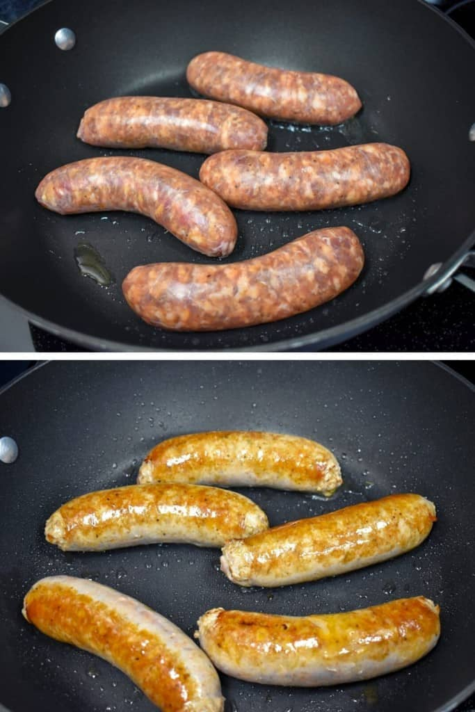 Two images of Italian sausage cooking in a large, black skillet. The top image they are just put in and the bottom image they are browned.