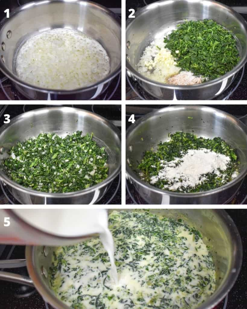 A collage of five pictures illustrating the steps to making creamed spinach, starting with cooking the onions and ending with adding the milk in the pan.