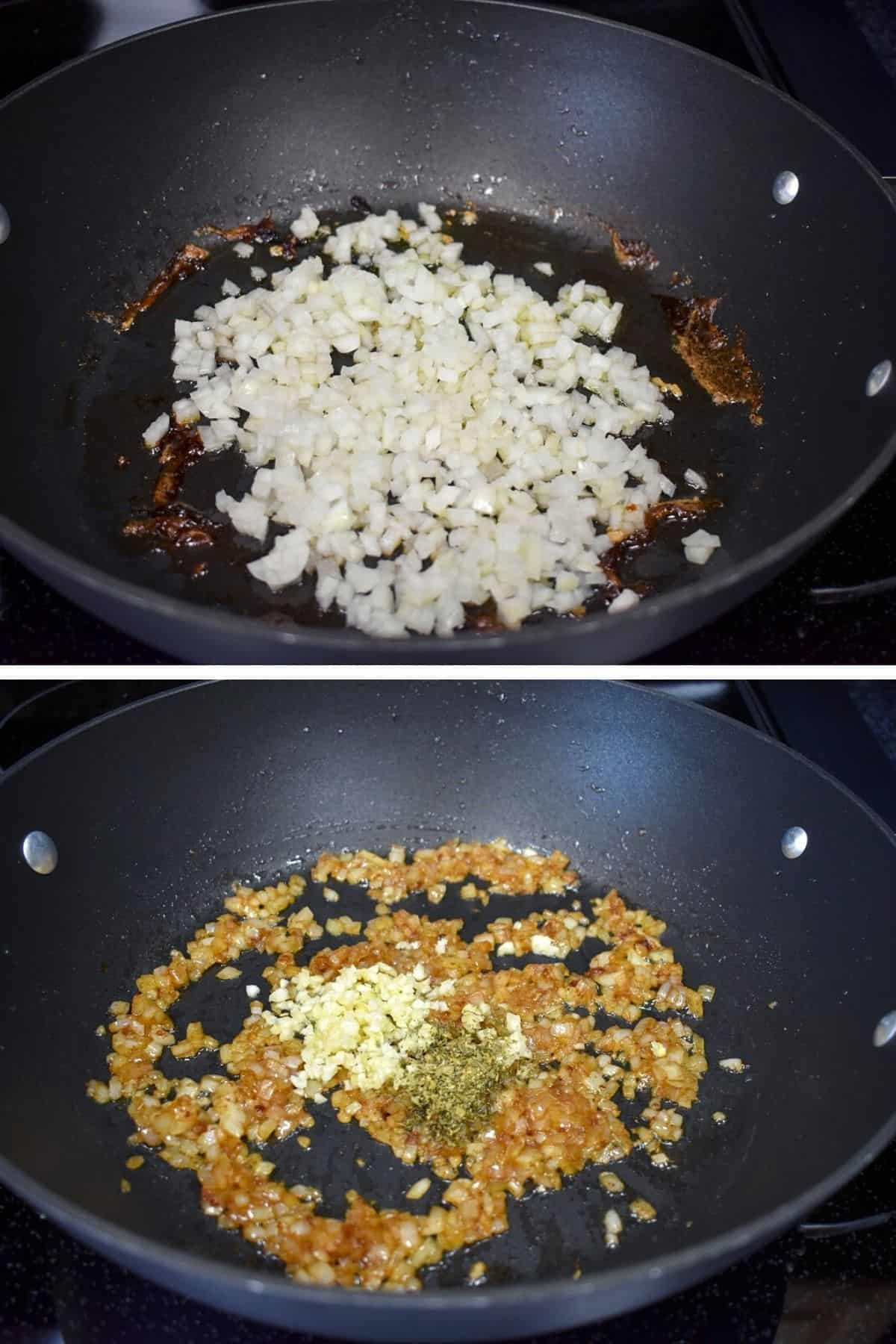 Two images, the top one is onions cooking in a large, black skillet. The bottom one is the onions are golden and garlic and oregano added to the same skillet.
