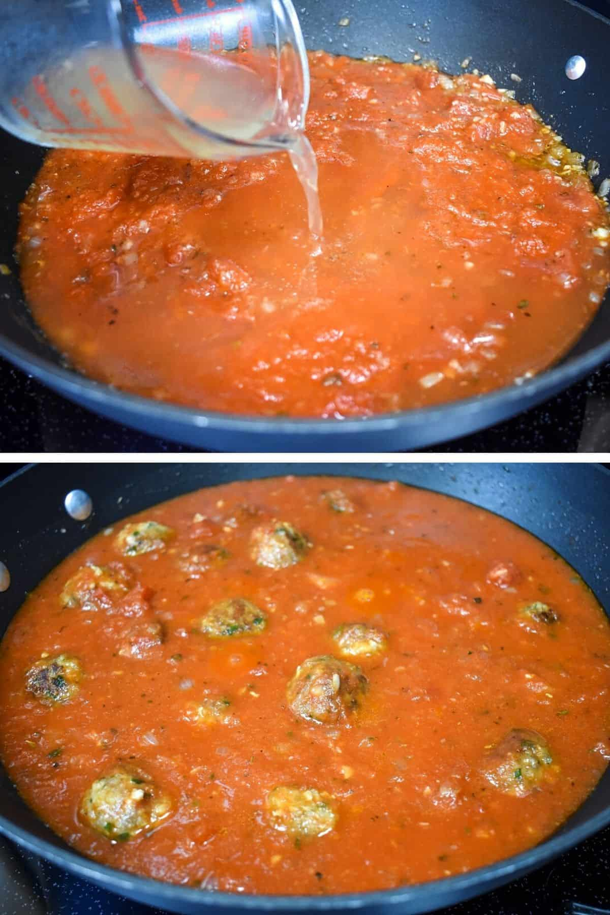 Two images of the steps making to making the sauce.