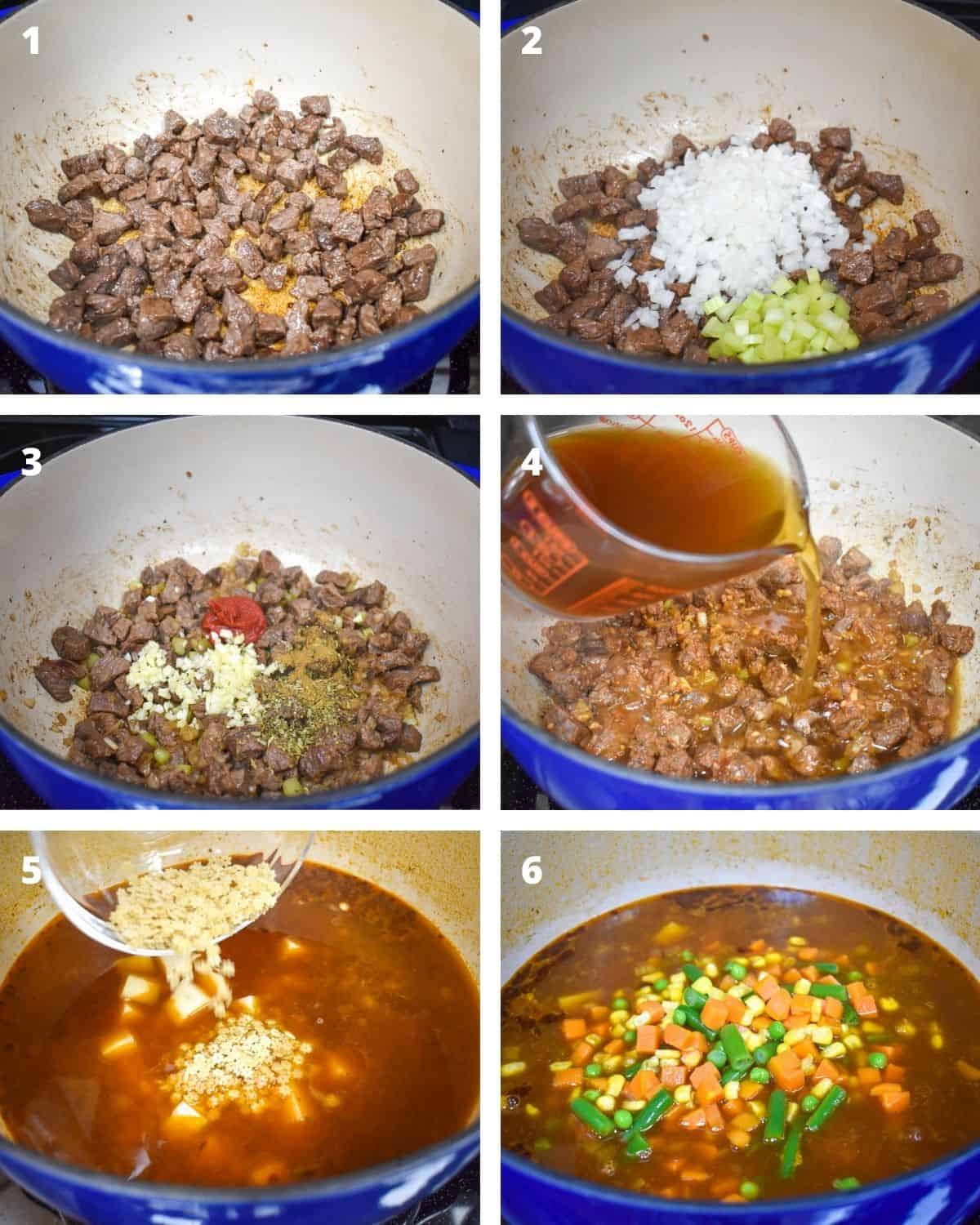 A collage of six pictures illustrating the steps to making vegetable beef soup.