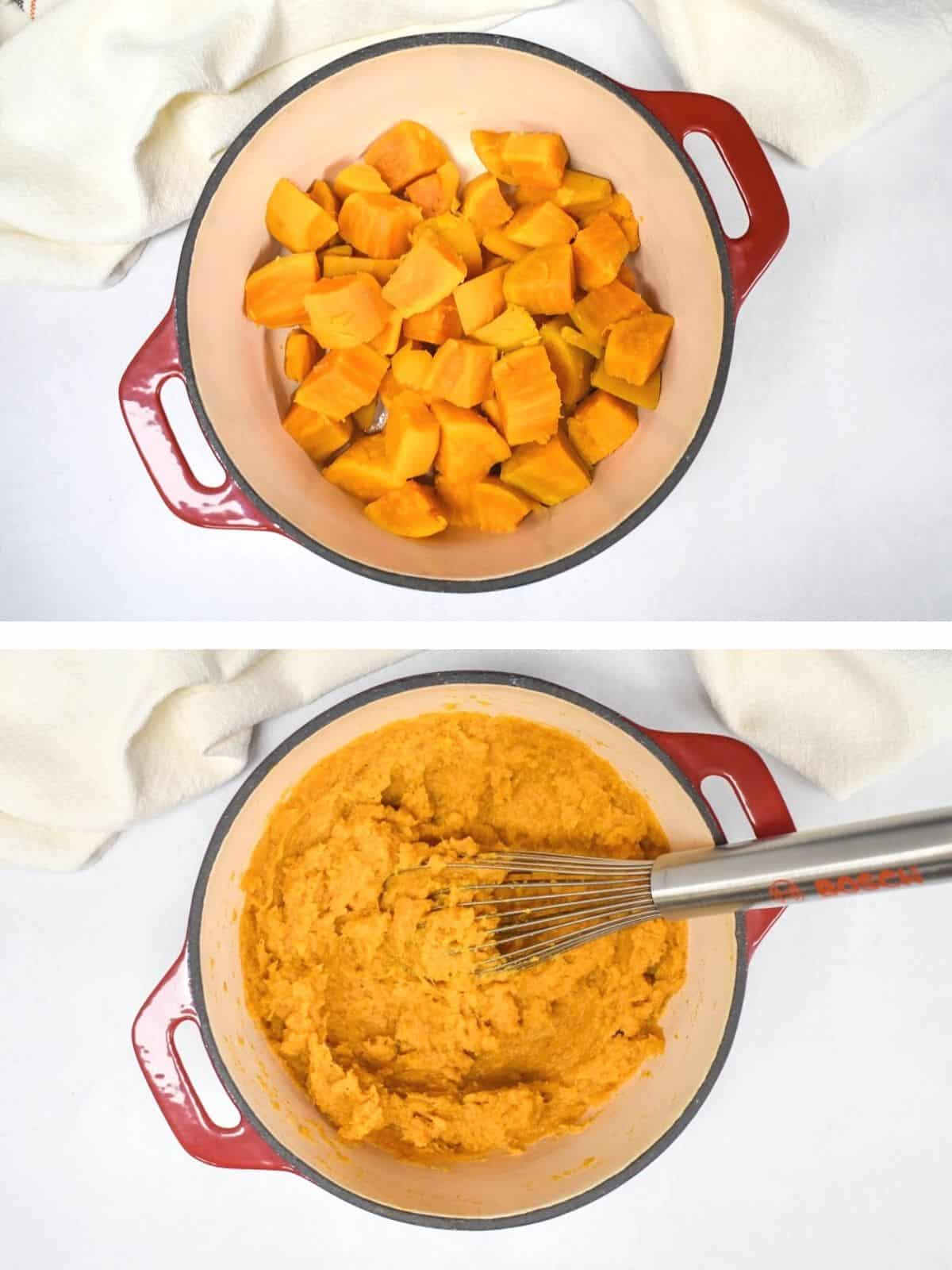 Two images showing the cooked sweet potatoes in a pot and after they are mashed with a whisk.