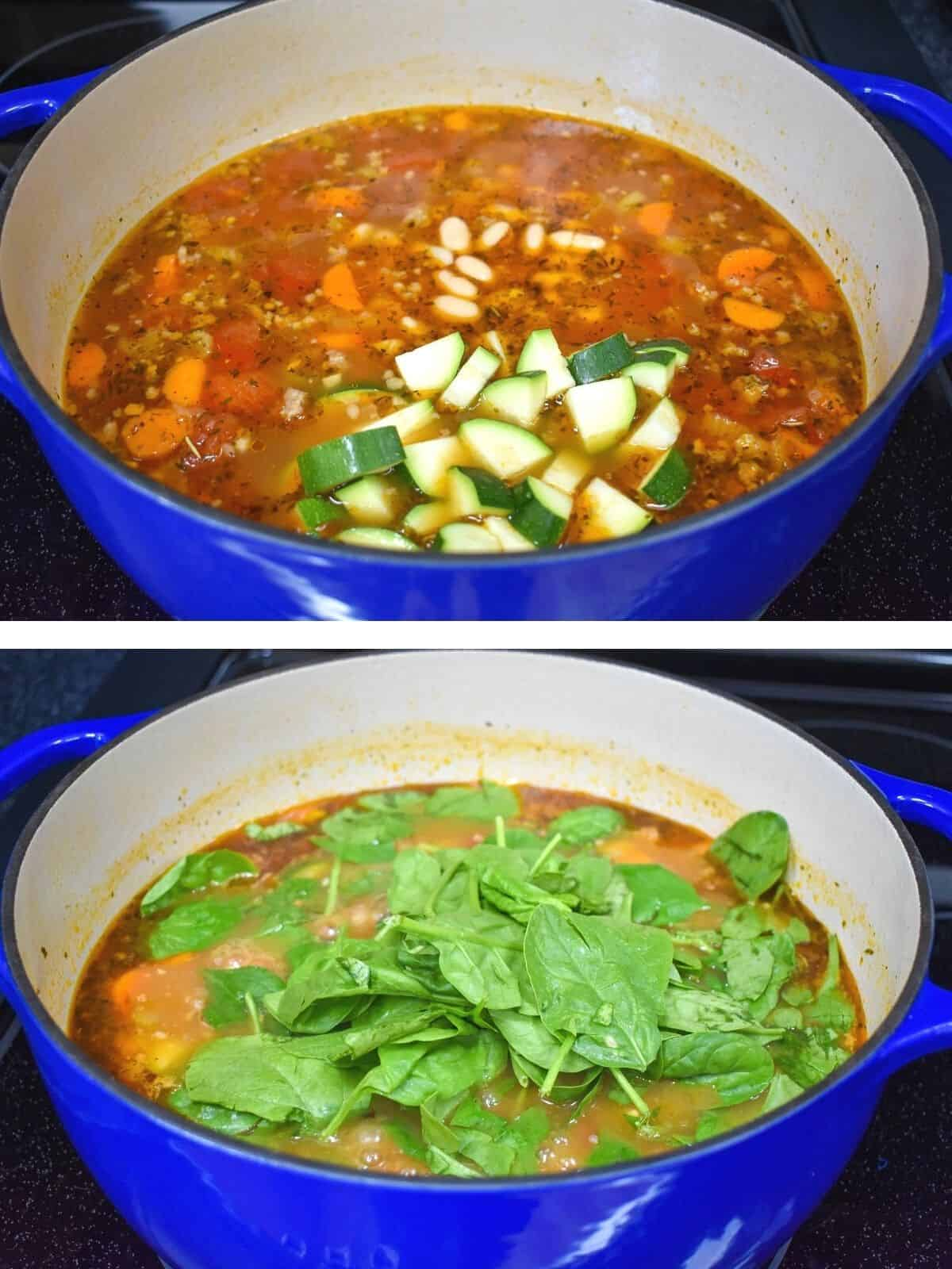 Two images showing the final steps to making the soup. One with zucchini and beans added and the second with the spinach added.