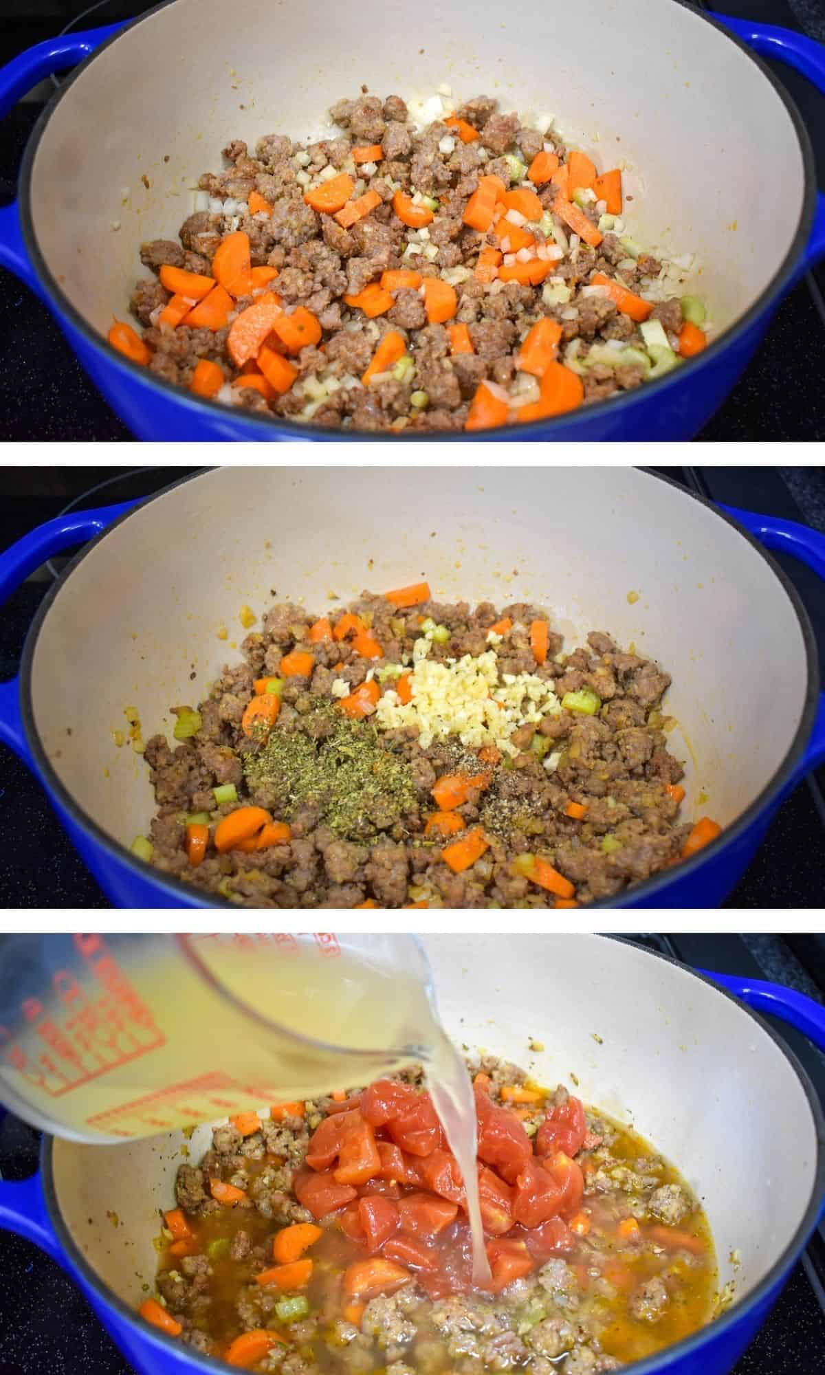 A collage of three images showing the steps of making sausage minestrone soup from cooking the vegetables to adding the chicken broth.